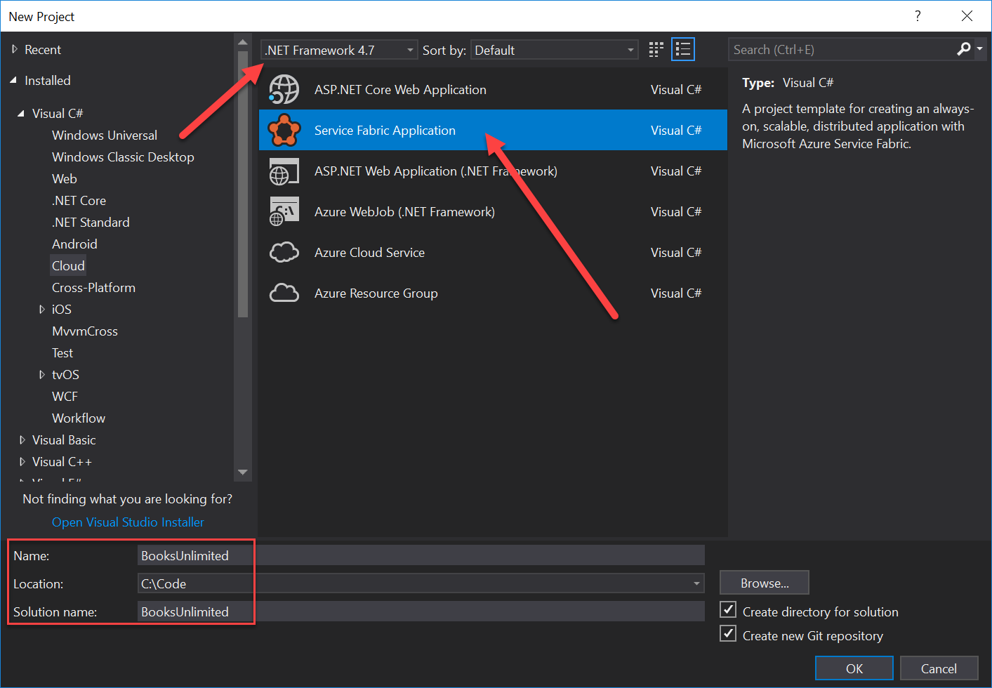 Creating a new Service Fabric Application using Visual Studio 2017