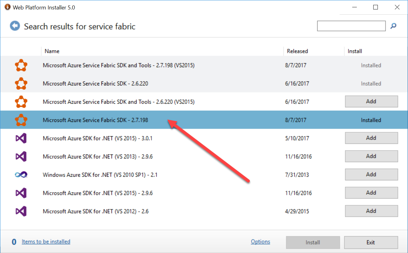Microsoft Web Platform Installer and Service Fabric